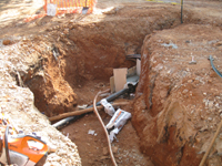 Grounds--Water line (also showing geothermal lines in back) - May 11, 2011