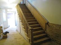 Ground Floor (Basement) --Sanded main staircase - May 23, 2011