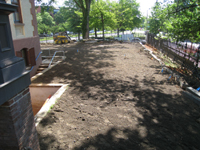 Grounds--Newly laid topsoil ready for landscaping, south east side - June 2, 2011
