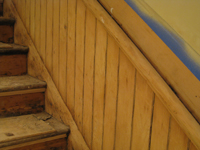 Ground Floor (Basement) --Main staircase side, sanded, detail - June 2, 2011