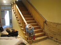 Ground Floor (Basement) --Main staircase, sanded - June 2, 2011
