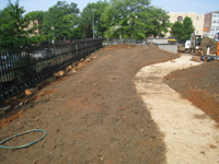 Grounds--South side with new sidewalk looking west to corner - June 10, 2011