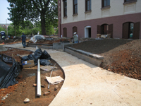 Grounds--East entrance with new sidewalks - June 10, 2011
