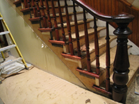 Ground Floor (Basement) --Main staircase partially refinished (detail) - June 10, 2011