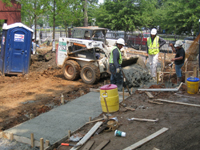 Grounds--Pouring concrete for sidewalk - June 10, 2011