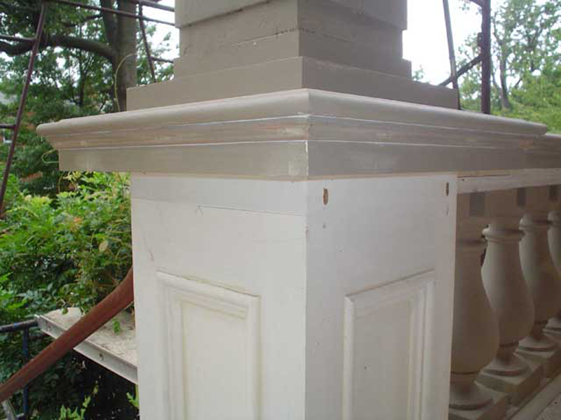 The column bases were also reconstructed to appear the same as the original.